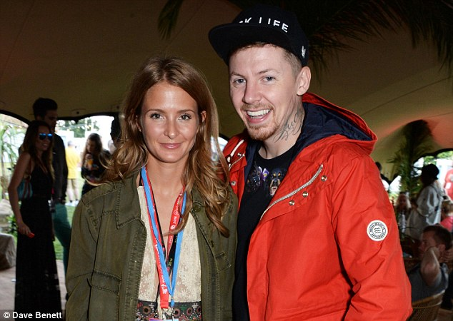 Party pair: Married couple Millie Mackintosh and rapper Professor Green also enjoyed the backstage area at the event on Saturday