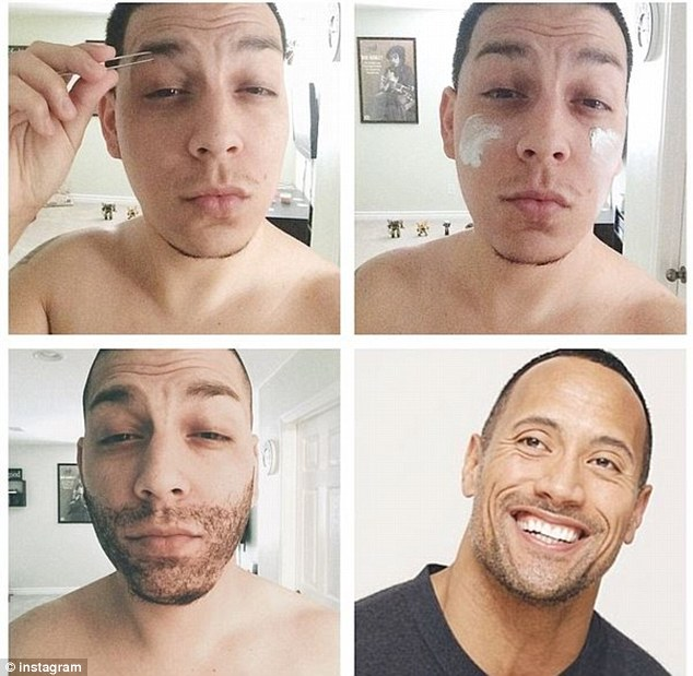 Voila! This Instagram user manage to fake some stubble to look, err, kind of like The Rock Dwayne Johnson