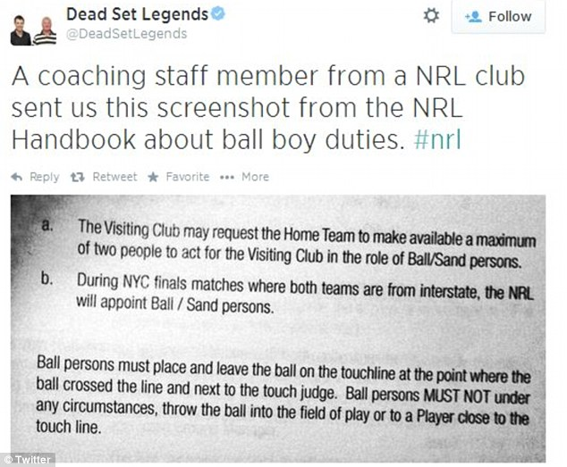 Dead Set Legends posted a Twitter post on Saturday about ball boy duties