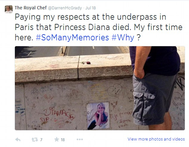 Earlier, McGrady paid a visit to the Paris underpass where Diana died following a high speed car crash