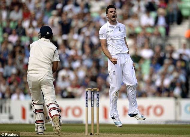 Dominant: James Anderson celebrates after removing Cheteshwar Pujara for 11 runs at The Oval