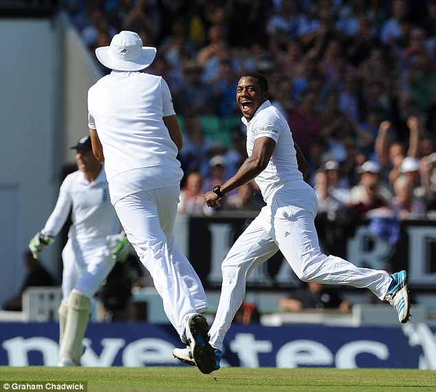 Running away with it: Chris Jordan celebrates after the catch is taken to remove Ashwin