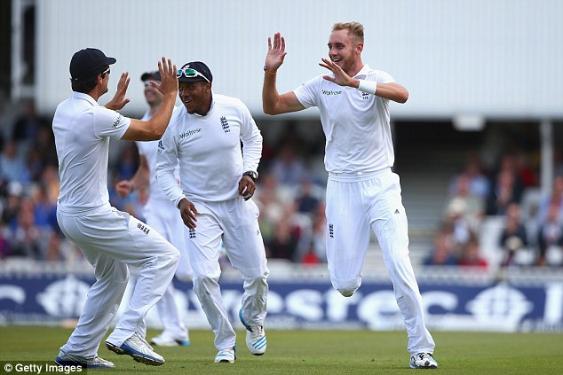 Another one bites the dust: Broad celebrates after removing Ajinkya Rahane for four runs