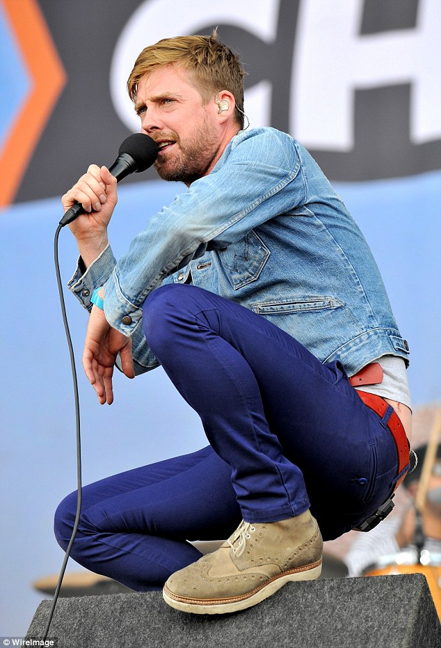 Cool and casual: Ricky Wilson from Kaiser Chiefs worked a denim jacket and purple trousers