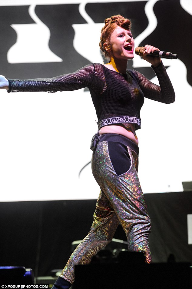 Party pants: 25-year-old singerKiesza got heads turning in her metallic silver trousers