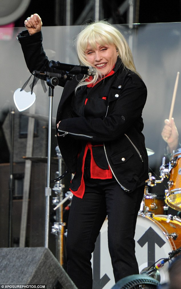 Stage legend: Blondie looked great in an all-black ensemble and entertained fans with hits like One Way Or Another