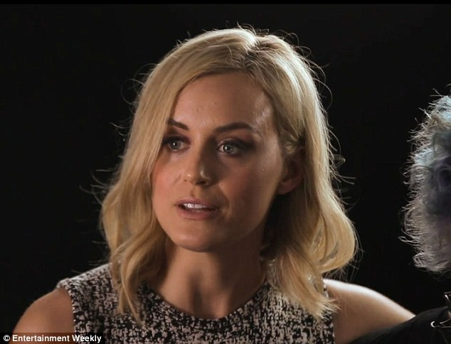Blonde beauty: Taylor Schilling also joined in on the fun as she warned: 'Having too many episodes at your disposal can be hazardous to your health'