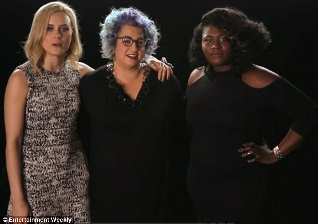 Three's a crowd: Taylor was joined by Orange Is The New Black show creator Jenji Kohan and co-star Danielle Brooks (pictured from left to right) as the group introduced tips to binge-watching