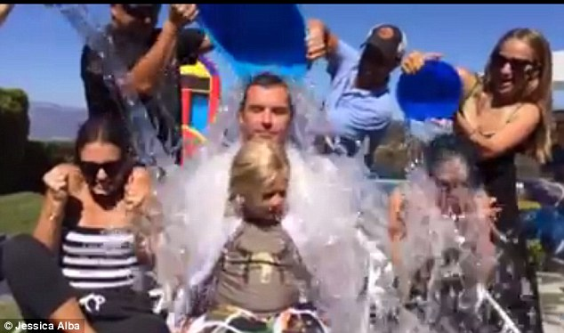 We're ready! Jessica Alba, Gavin Rossdale and Nicole Richie get drenched as they take the ALS Ice Bucket Challenge