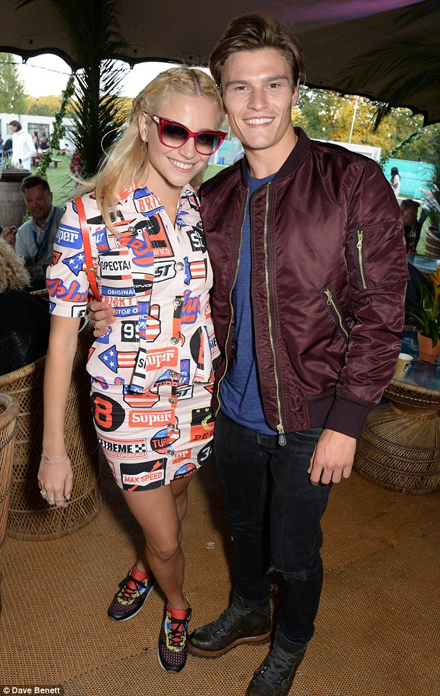 Genetically blessed: Before her performance Pixie hung out with her model boyfriend Oliver Cheshire