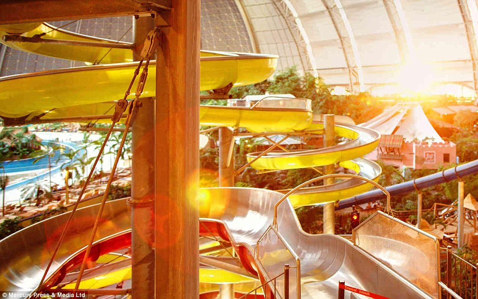 Controlling the weather: The sun peeks through the dome's windows but it will never rain inside the tropical water park