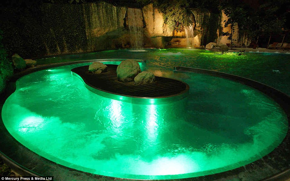Light fantastic: Bathers can chill out in different zones, several of which are modelled on other countries