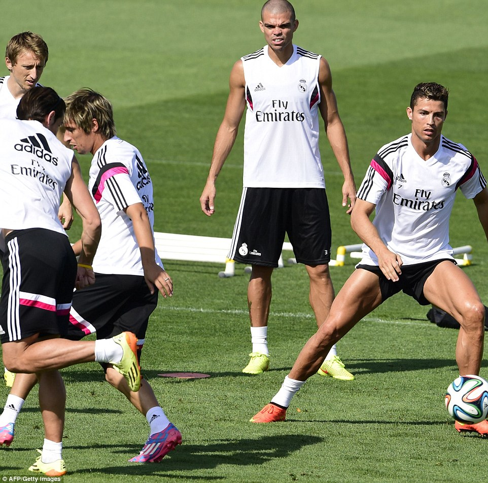 Quick flick: Bale flicks one away from Coentrao into the path of Ronaldo as Modric and Pepe survey the action