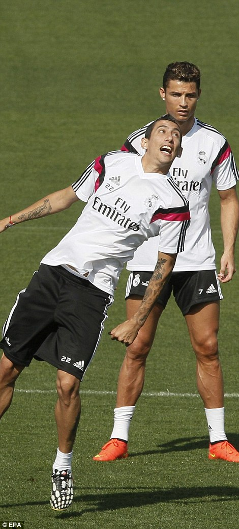 On the move? Another player linked with a move away, Angel di Maria, was also in action in Madrid