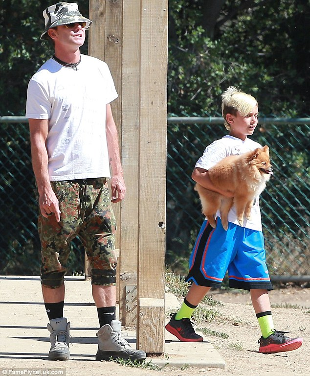 Continuing the fun: Later on Sunday, Gaving took his kids Kingston and Zuma to the dog park in Studio City