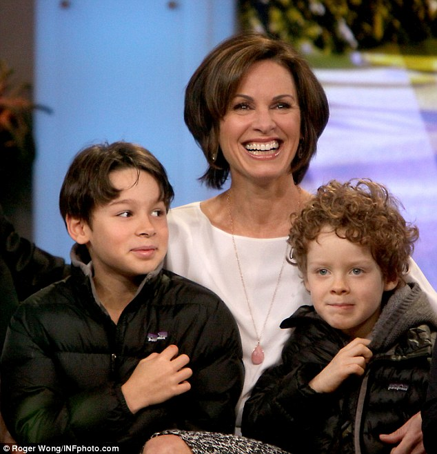 Their children: Elizabeth Vargas smiled during a taping of Good Morning America as she held her sons, Zachary and Samuel
