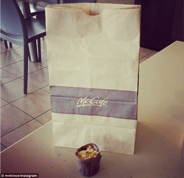 A woman was highly amused to find her bit-sized muffin needed a huge bag to hold it