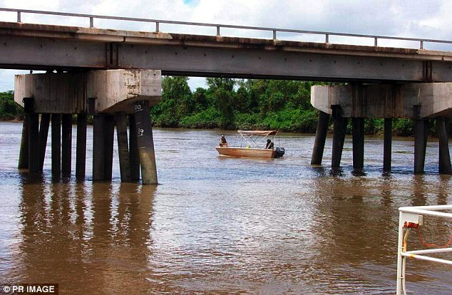 The man in his 50s was standing on the side of the river near the  Adelaide River bridge, east of Darwin