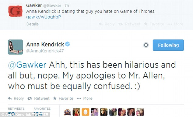 Funny: Anna told Gawker their report that she was dating the Game Of Thrones star was 'hilarious'