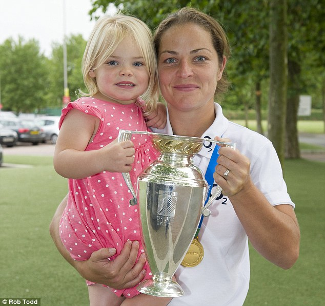Emma Croker, 31, pictured here with her two-year-old daughter Lucy, is the only mother in the England women's rugby team, but says she hopes her experience of juggling work, professional sport and motherhood will inspire other women