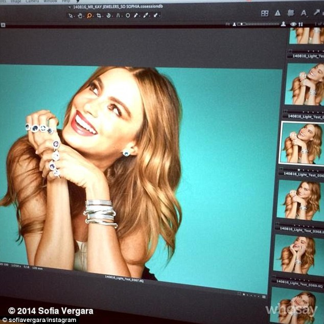 Her latest endeavour: On Saturday, Sofia shared this screen shot with fans on social media as she shot the ad campaign for her Kay Jewelery collection, her ring and matching necklace appearing to come from the range
