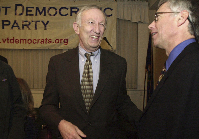 FILE - In this March 14, 2003, file photo, Sen. Jim Jeffords, I-Vt., center, laughs with Vermont Democratic Party Chairman Scudder Parker at the annual Democ...
