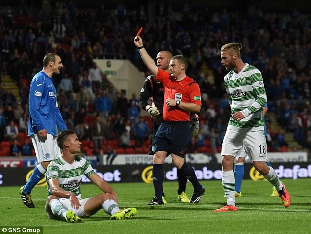 Unfair dismissal:Celtic's Derk Boerrigter has been punished for his alleged dive against St Johnstone