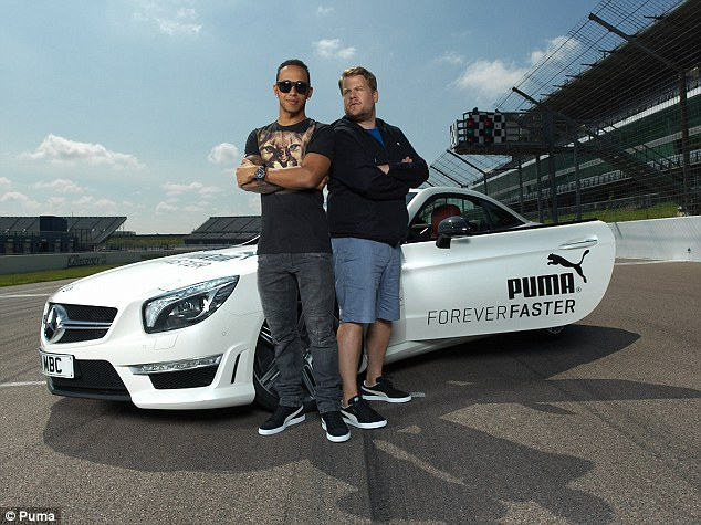 Speedy: James Corden was given one lap to ask Lewis Hamilton as many questions as he could