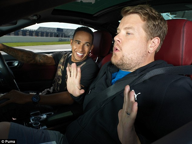 Breathe easy: Corden was given the ride of his life by the Mercedes driver at Rockingham Circuit