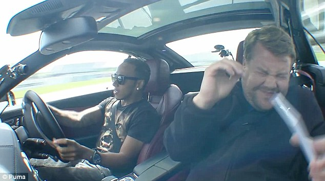 Uncomfortable: Corden was thrown from side to side as Hamilton hit speeds of 150mph