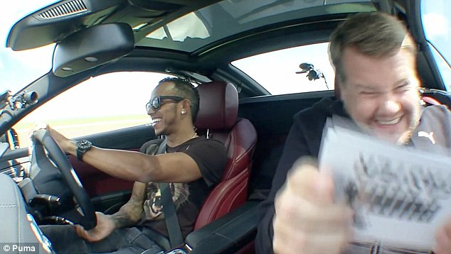 Task: Corden tried to ask the Formula One star some questions while feeling a little uncomfortable