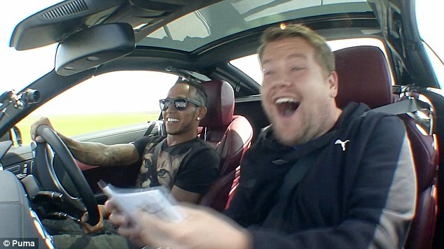 Thrill: Corden said 'I can't feel my legs' after stepping out of the car