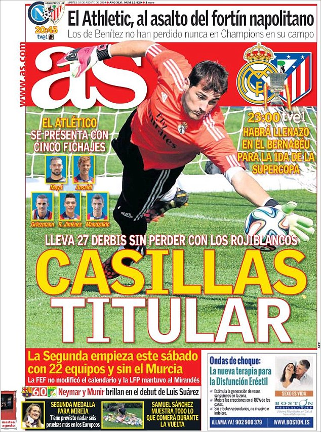 Seasoned campaigner: Iker Casillas has gone 27 derbies without defeat for Real Madrid