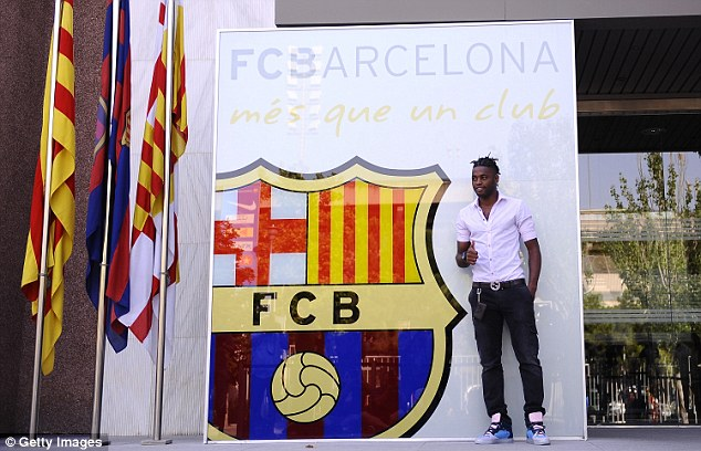 New boy: Barca signed Song for £15million but he has failed to command a regular starting spot since