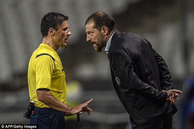 Anger: Besiktas manager Slaven Bilic was sent to the stands after losing his temper during the Arsenal game
