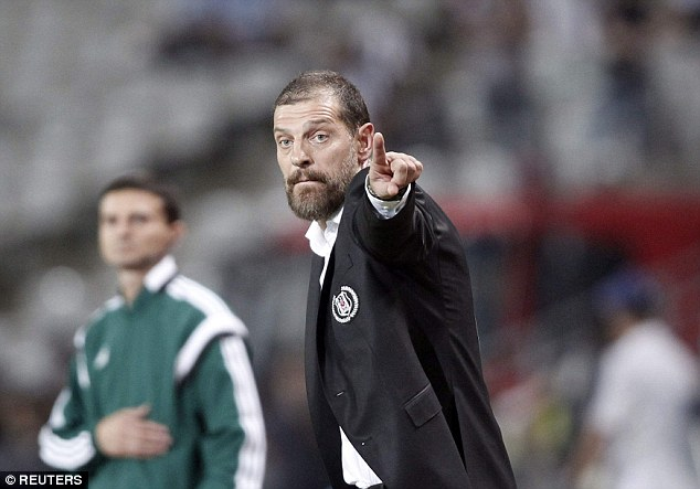 Paving the way: Bilic shouts instructions from the touchline during the Champions League game