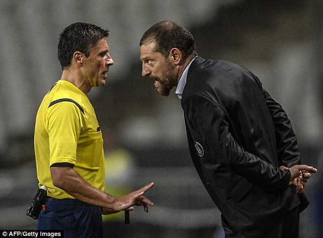 Off: Besiktas coach Slaven Bilic (right) was sent to the stands for persistent remonstrations with UEFA officials