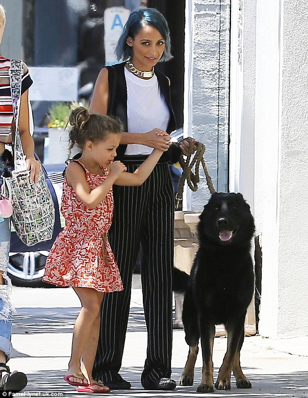 Canine companion: Nicole and daughter Harlow were seen taking their dog Iro to a dog class in West Hollywood, California on Wednesday