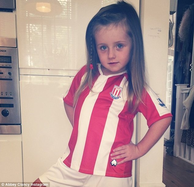 His biggest fan: The couple's daughter Sophia supported her dad in his first game of the new season at Stoke City over the weekend