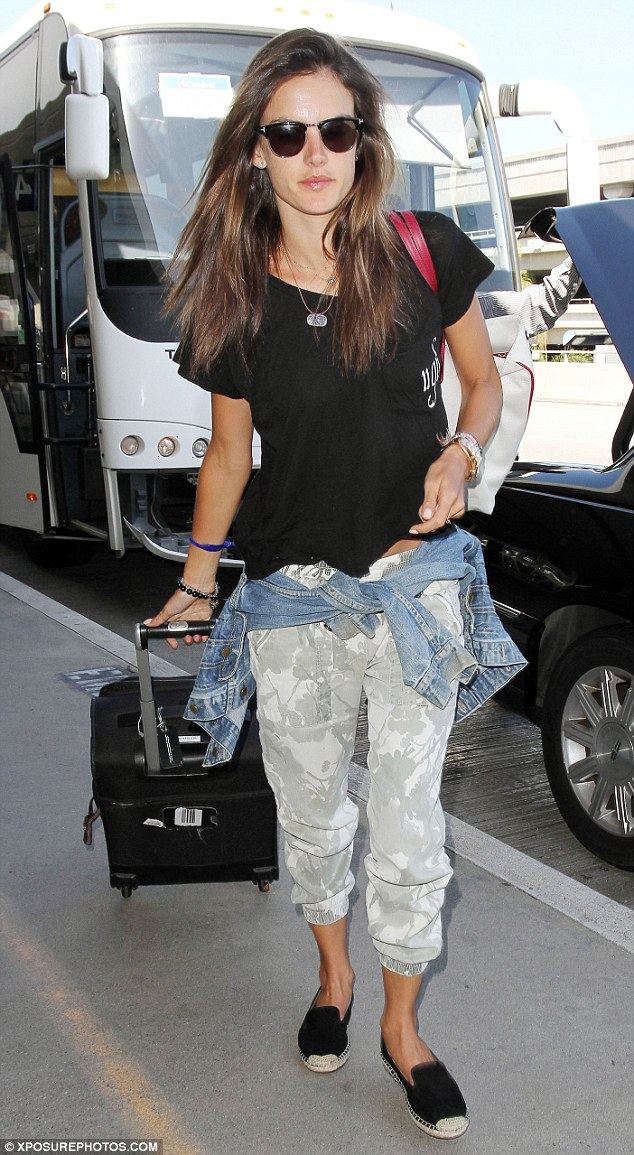 Picture perfect: Alessandra Ambrosio opted for a dressed down look on Monday upon arriving in LA X after her holiday in Maui