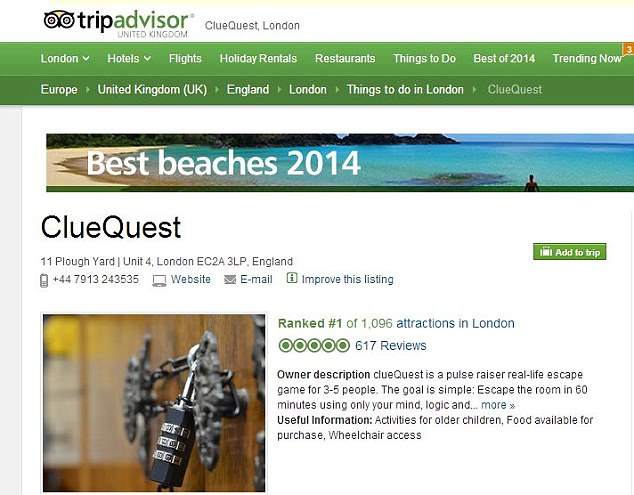 Number one attraction: clueQuest has received more than 600 rave reviews, giving it the top spot