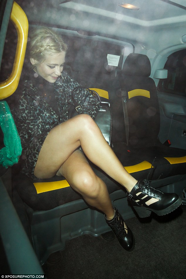 Perfect pins: In her leopard print mini skirt, Pixie's flawless pins were on full display for the night out