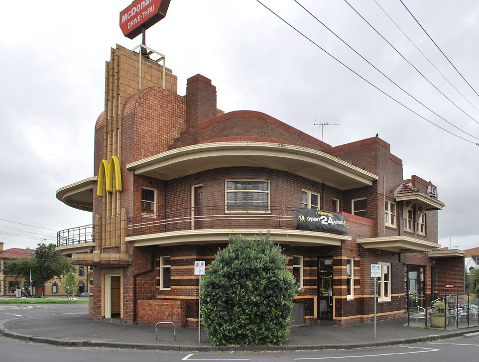 Artistic: The Art Deco McDonald's in Melbourne, Australia comes with a retro dining room and neon lights. The building was once the United Kingdom Hotel and was designed by architect James Hastie Wardrop