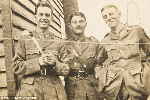 Life at war: Capt Silk (right) joined the Welsh Regiment at the age of 25 and quickly rose to the rank of Captain