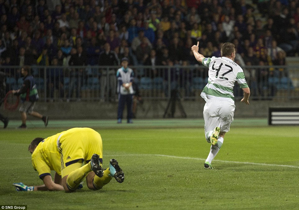 Early delight: McGregor runs away to celebrate  his strike in Slovenia as goalkeeper Jasmin Handanovic is left to pick the ball out of the net