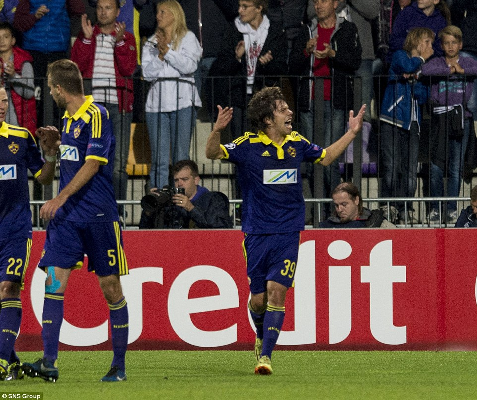 Get in! Maribor midfielder Bohar gestures to the home fans after scoring in the 14th minute at the Ljudski vrt Stadium