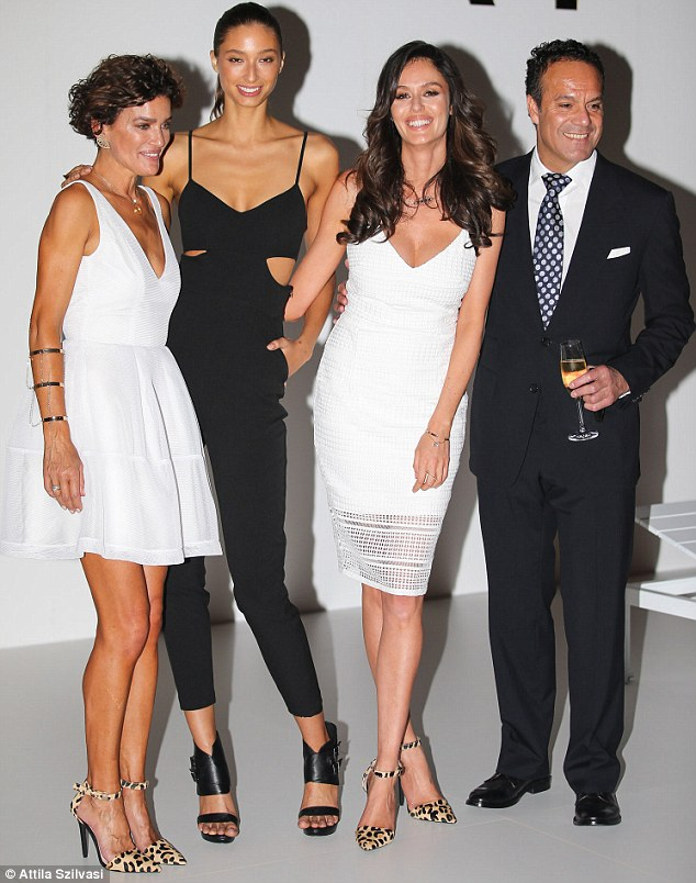 Proud: The show's leading clothes horses posed with designers Danielle Vagner and Rob Cromb after the runway