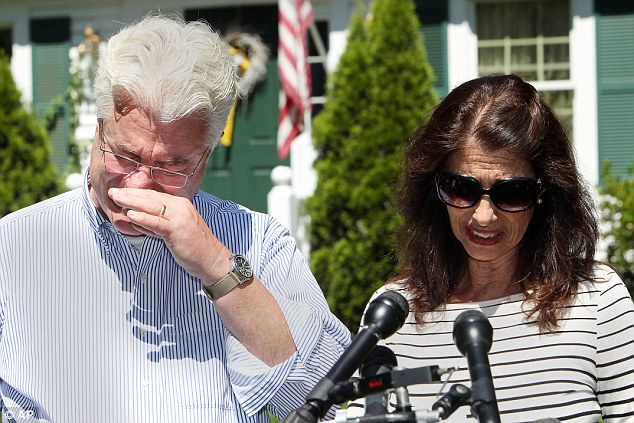 Inspiration: Diane and John Foley Snr., told reporters outside their home in New Hampshire on Wednesday how James was inspired to report in war zones because of his brothers in the military