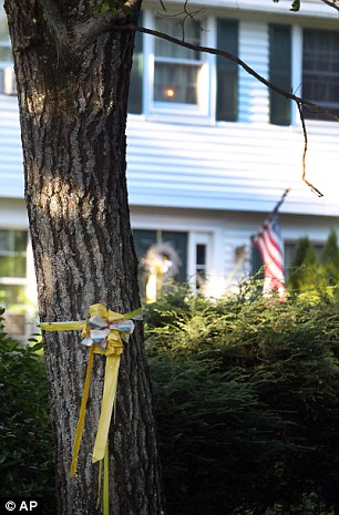 Two long years: A yellow ribbon is wrapped around a tree outside the Foley family home in New Hampshire