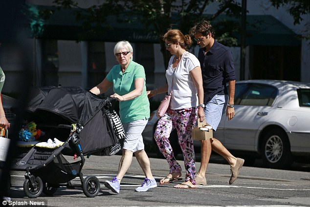 Day away from the tennis court: The Federer's were seen heading to grab a bite to eat on Madison Avenue